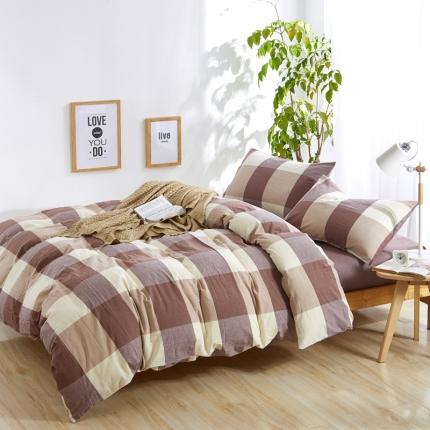 色织生活 简约宜家水洗棉四件套床单款棕色大格