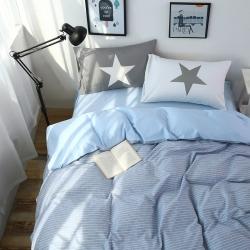 眠本家纺 全棉格子条纹系列四件套浅蓝色