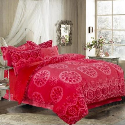 宜凡家纺 新品3D雕花绒保暖加厚四件套嫣红