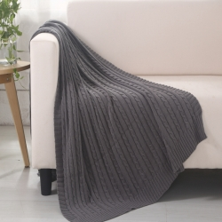 乐享生活 小麻花毯毛毯灰色