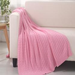 乐享生活 小麻花毯毛毯粉红色