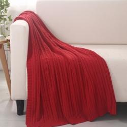 乐享生活 小麻花毯毛毯红色
