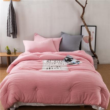 纯品家居 舒适保暖北欧水洗磨毛被芯冬被 粉色