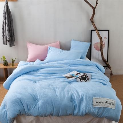 纯品家居 舒适保暖北欧水洗磨毛被芯冬被 天蓝