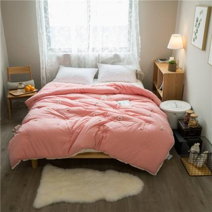 纯品家居 水洗棉毛巾绣小雏菊被芯冬被 粉色
