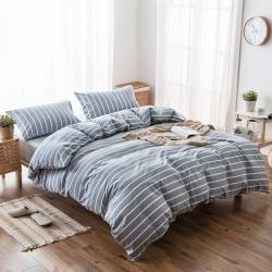 新棉坊 水洗棉四件套床单款浅灰白条