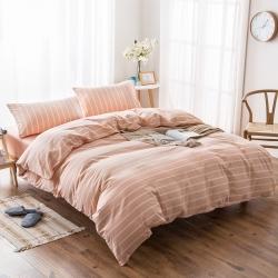 新棉坊 水洗棉四件套床单款浅玉白条
