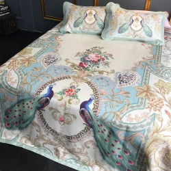 (总)深蓝 养生凉席 冰露丝可水洗机洗 床笠床单款 三件套