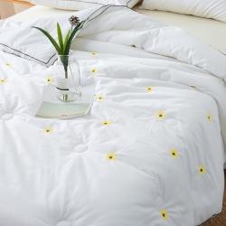 (总)傲蕾良品高端小雏菊刺绣纯棉春秋被被芯被子贴身
