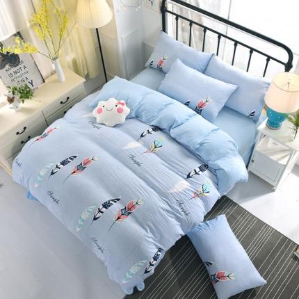 新款水洗棉环保四件套简约印花床上用品四件套