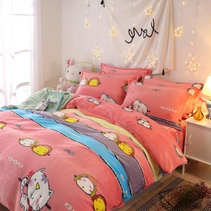 音乐猫  44个法莱绒四件套床单款【所有花色床笠款可定做】