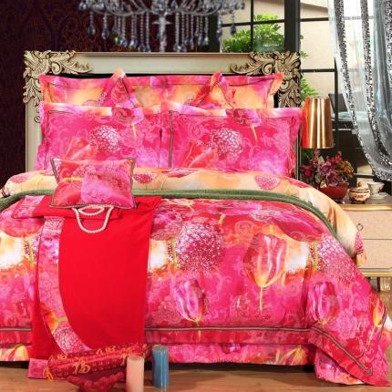 浩情国际 贵族奢华高档蚕丝棉婚庆系列多件套 郁金花香