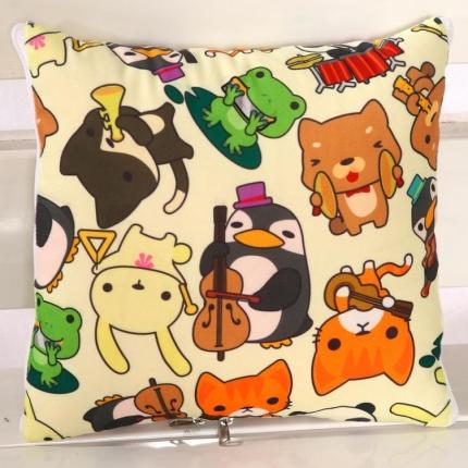 甜家美居 短毛绒数码印花抱枕被 动物朋友