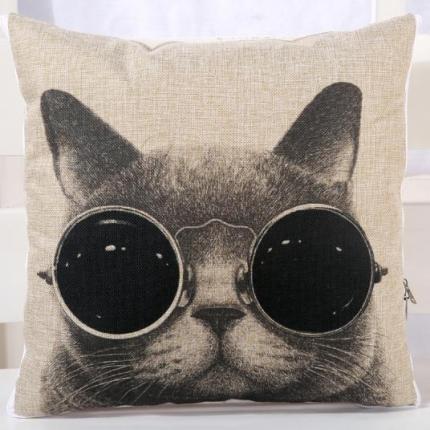 甜家美居 棉麻数码印花抱枕被 酷猫