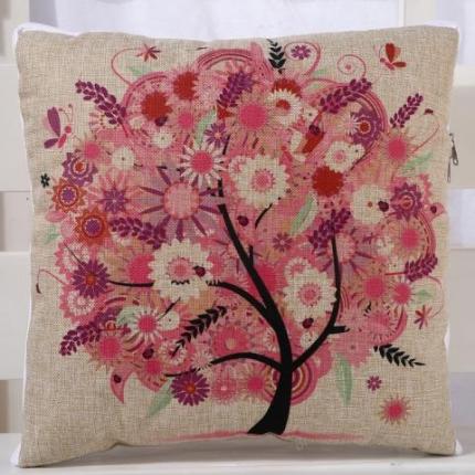 甜家美居 棉麻数码印花抱枕被 相思树-红