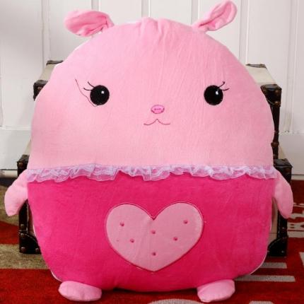 甜家美居 多功能短毛绒卡通抱枕被 爱心兔