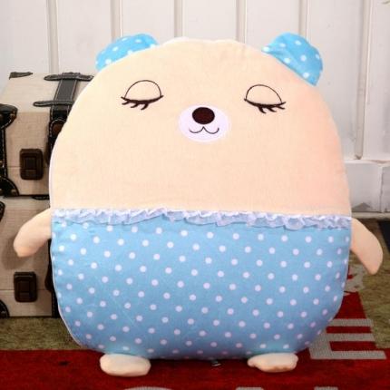 甜家美居 多功能短毛绒卡通抱枕被 蓝点小熊