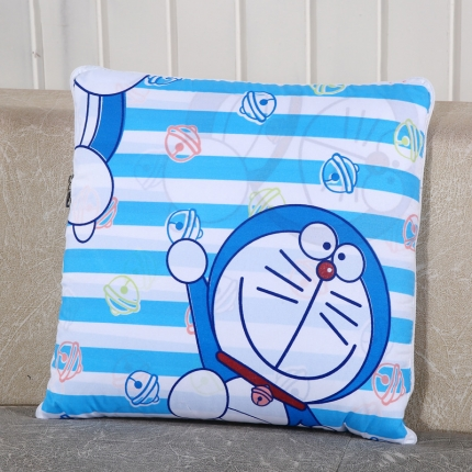 甜家美居 升级版四季通用磨毛印花抱枕被 机器猫