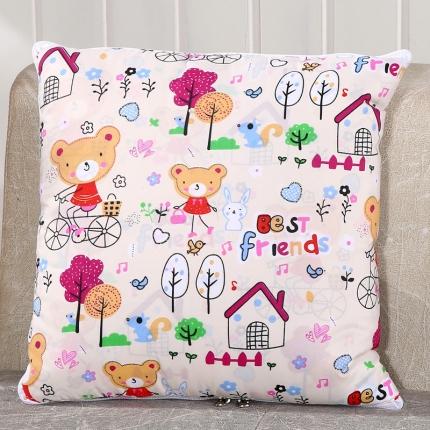 甜家美居 升级版四季通用磨毛印花抱枕被 小熊之家