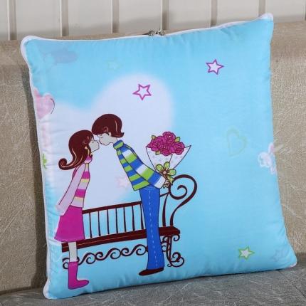 甜家美居 升级版四季通用磨毛印花抱枕被 单车恋人