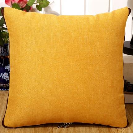甜家美居 纯色棉麻多功能抱枕被 棉麻-金黄色