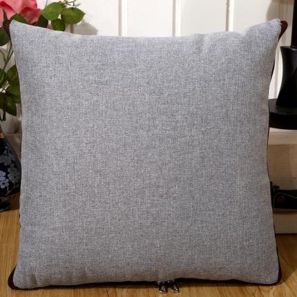 甜家美居 纯色棉麻多功能抱枕被 棉麻-银灰色