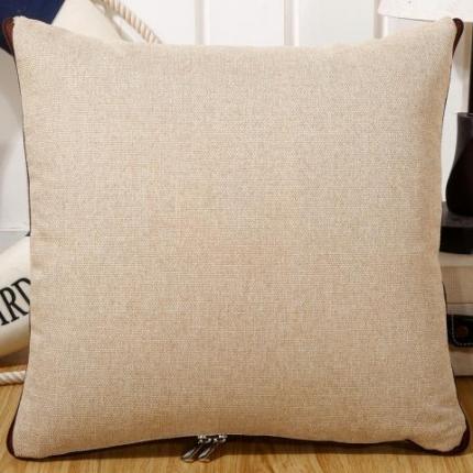 甜家美居 纯色棉麻多功能抱枕被 棉麻-米白色