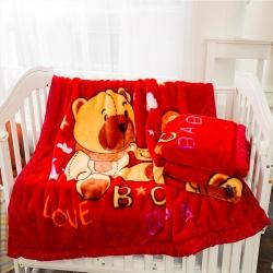 金贝壳拉舍尔加厚秋冬毯子童毯双层130X140cm2.8斤
