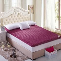 芙琳家纺 精美超柔珊瑚绒立体床垫 酒红