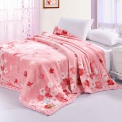 凤凰林毛毯 双层超细柔拉舍尔毛毯 纳帝粉相思粉 樱花粉