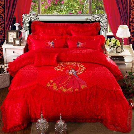 浩情国际 全棉贡缎提花蕾丝婚庆多件套 爱情海-红
