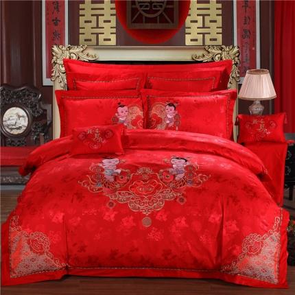 浩情国际 全棉提花彩绣婚庆多件套 富贵百年