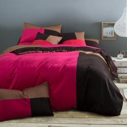 风向标家纺 全棉活性三拼色四件套撞色床品套件床单款旧时光