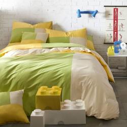 风向标家纺 全棉活性三拼色四件套撞色床品套件床单款青柠檬菲尔