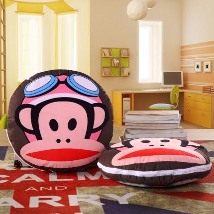 甜家美居 2016卡通定位圆形绗缝抱枕被空军猴