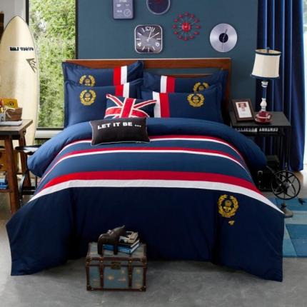 杰米家居 时尚英伦徽章系列精致四件套马特