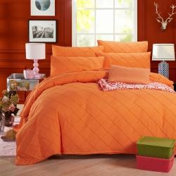 绒品之家 磨毛四件套橘黄