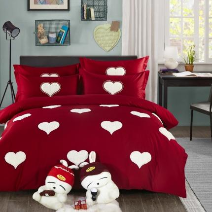 杰米家居 满版贴布绣花系列四件套 爱心-红