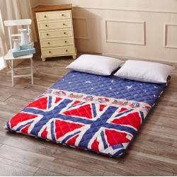 全棉榻榻米折叠海绵床垫子加厚褥子床褥单双人蓝色华尔兹