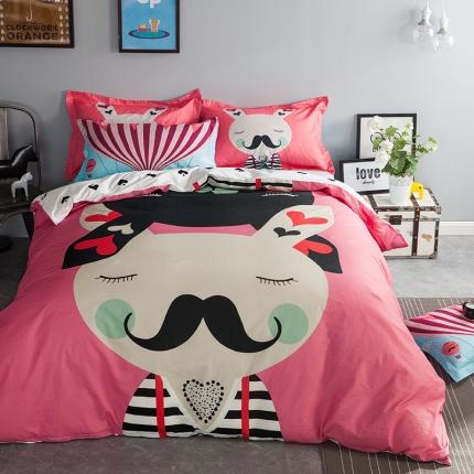 风向标家纺专版北欧简约混搭13070四件套床单款兔朱迪的胡子