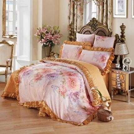 小时代家纺全棉贡缎欧式婚庆件床盖四件套六件套佩斯利