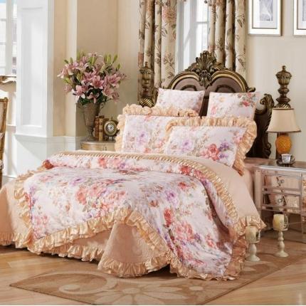 小时代家纺全棉贡缎欧式婚庆件床盖四件套六件套花恋