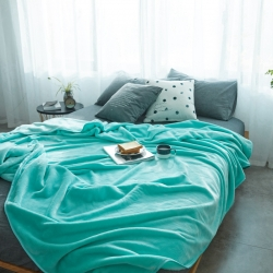 来菲加厚纯色法莱绒毛毯珊瑚绒毯子素色金貂绒六规格蒂芙尼蓝