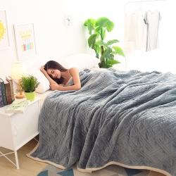 (总)炫拼家纺  纯色法莱绒毛毯法兰绒复合盖毯模特图