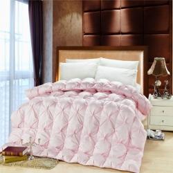 圣卓家纺 80贡缎扭花羽绒被冬被被芯 粉色