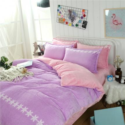 简约-丁香紫  44个法莱绒四件套床单款所有花色床笠款可定做