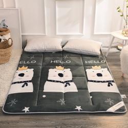 米帛床垫新款法兰绒保暖可折叠榻榻米床垫床褥学生单人宿舍床垫