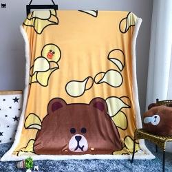 (总)line毛毯布朗熊羊羔绒毛毯卡通毯子休闲绒毯水晶绒