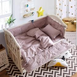 眠梦 亲子款水洗棉婴儿床四件套 豆沙