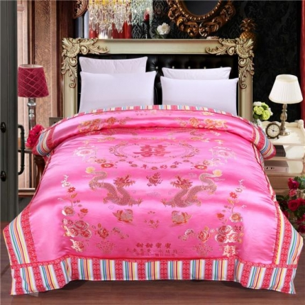 浩情国际 婚庆单品绸缎被套系列龙凤呈祥-绸缎被套-粉色